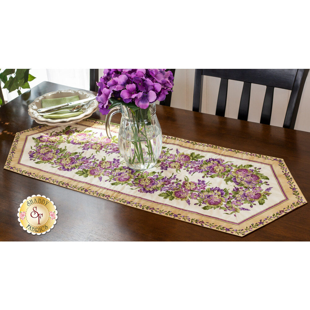 Easy Striped Table Runner Kit - Aubergine Tan available at Shabby Fabrics