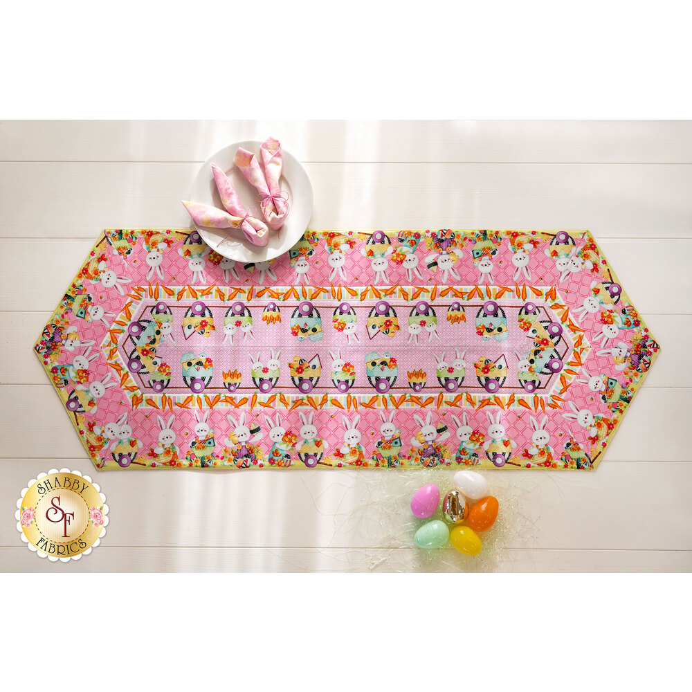 The adorable Easter Fun Easy Striped Table Runner on a white table with Easter decor