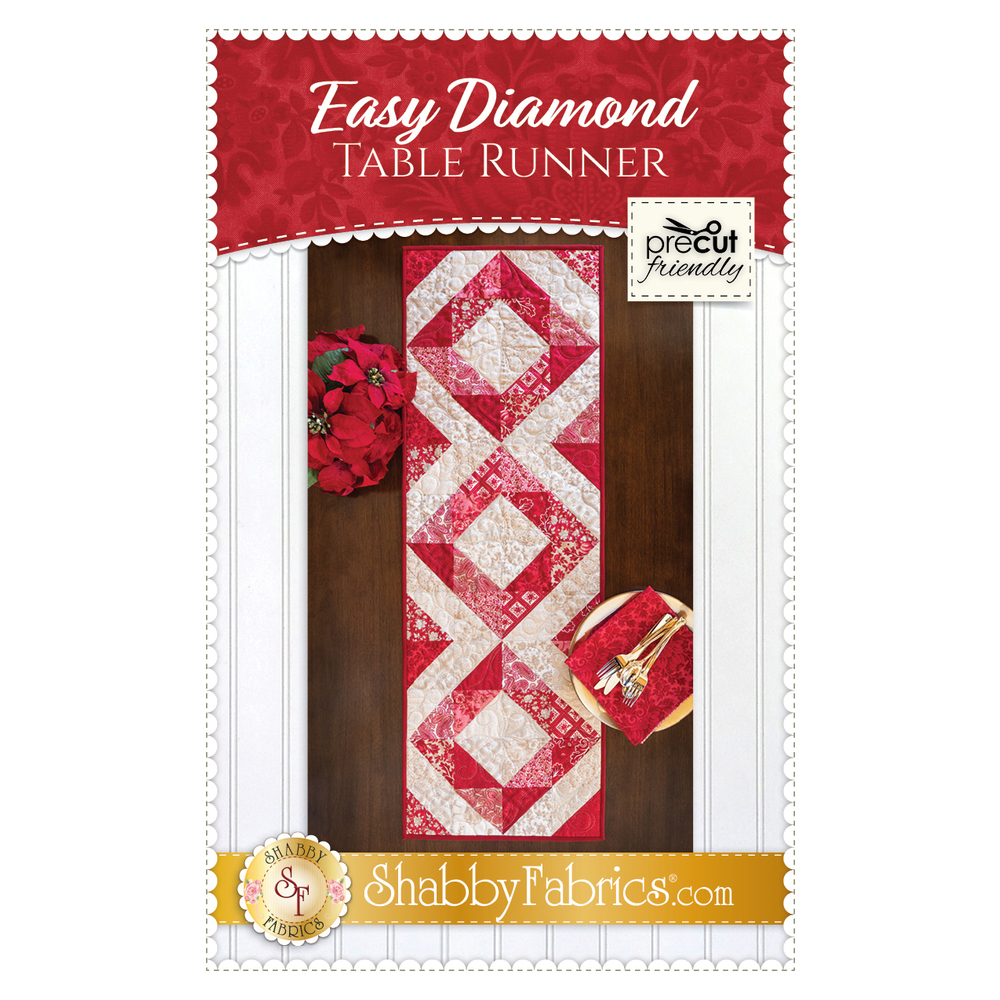 The front of the Easy Diamond Table Runner pattern showing the design of the finished table runner