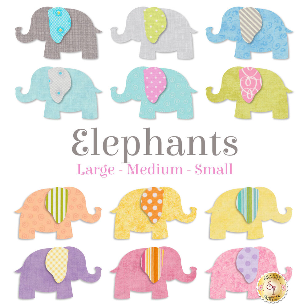 12 elephant applique shapes in a range of pastel colors: grey, yellow, blue, pink, purple.
