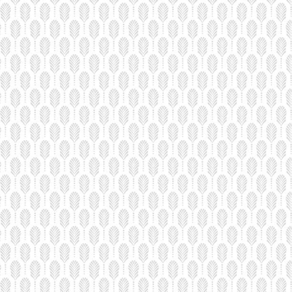 Beautiful white on white fabric with art deco feathers | Shabby Fabrics