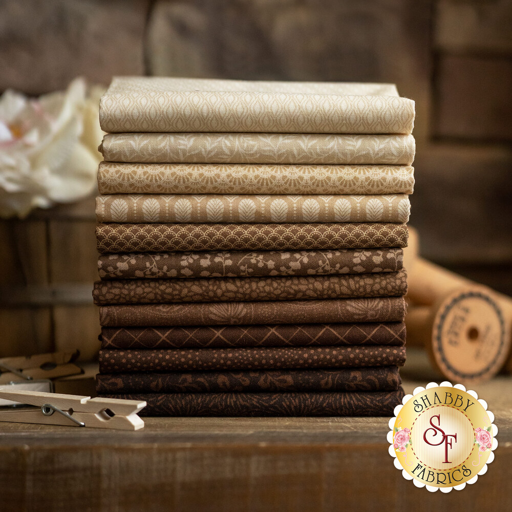 A collage of fabrics included in the Essentials Sandalwood fabric collection