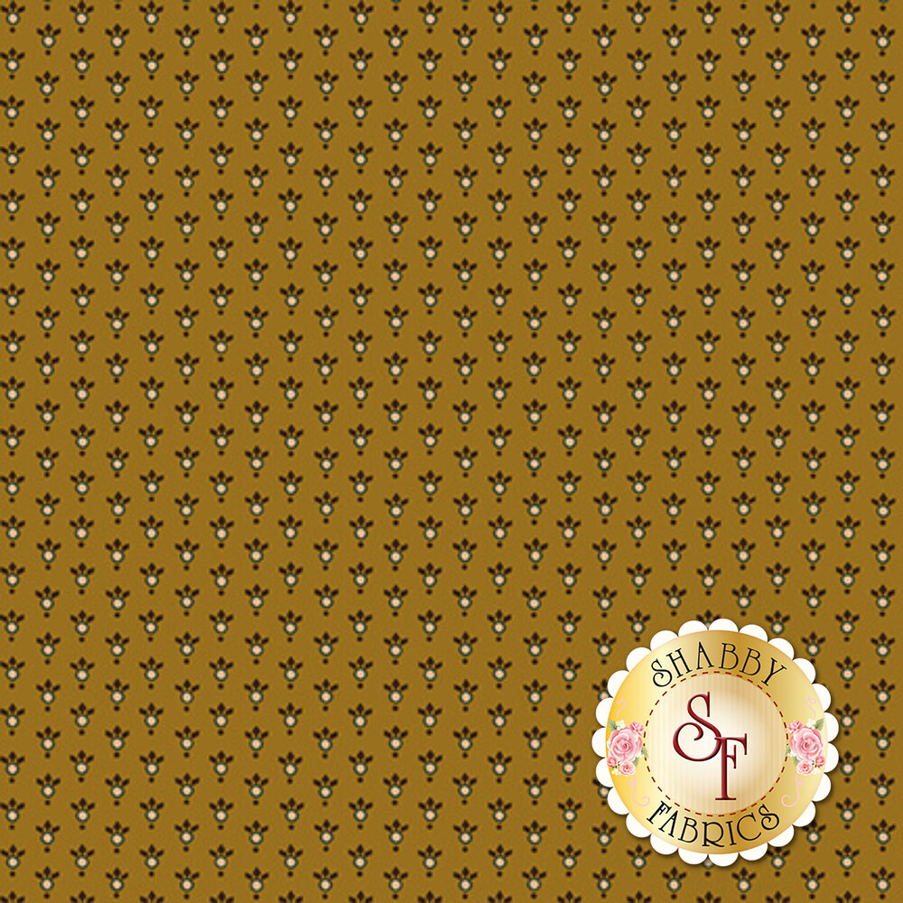 Small dots with tiny leaves on a gold background