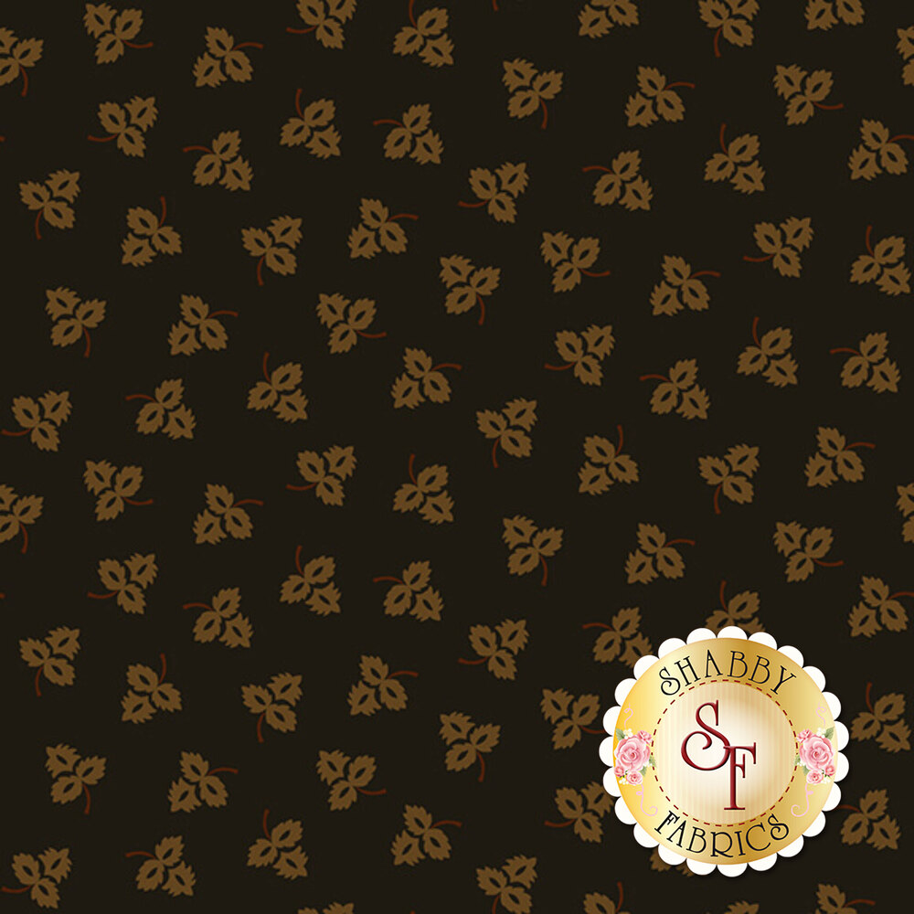 Small golden tossed leaves all over a black background | Shabby Fabrics