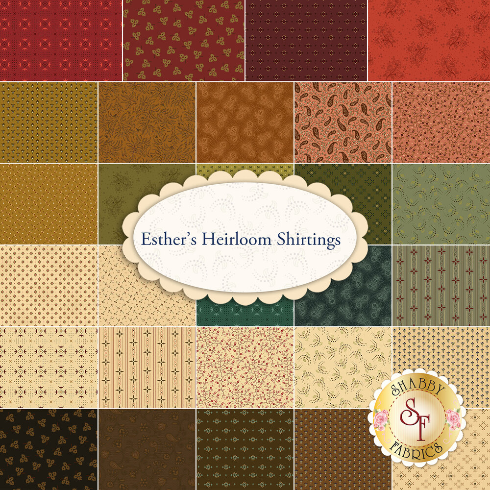 A collage of fabrics in the Esther's Heirloom Shirtings collection by Henry Glass Fabrics