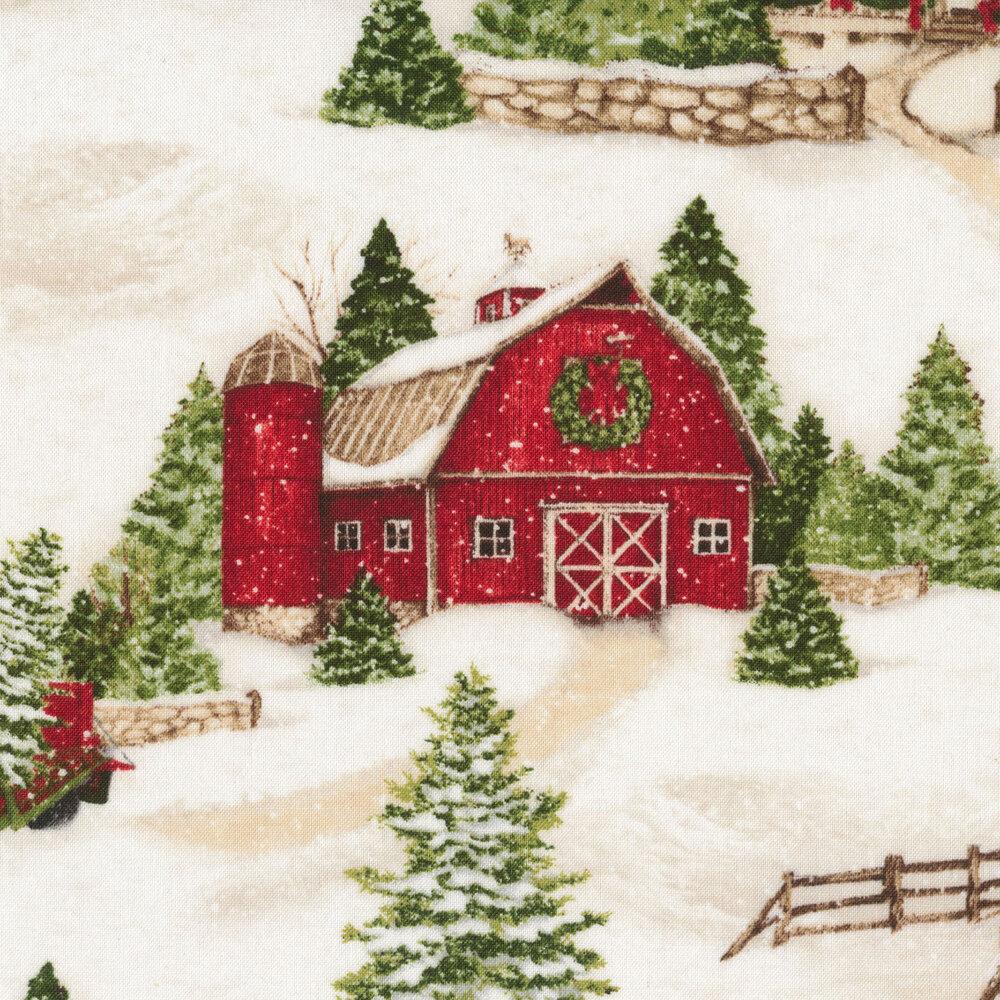 Snowy winter scene with barns and trees   Shabby Fabrics