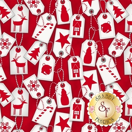 Frosty Friends Flannel F6980-88 Holiday Tags Red by Henry Glass Fabrics