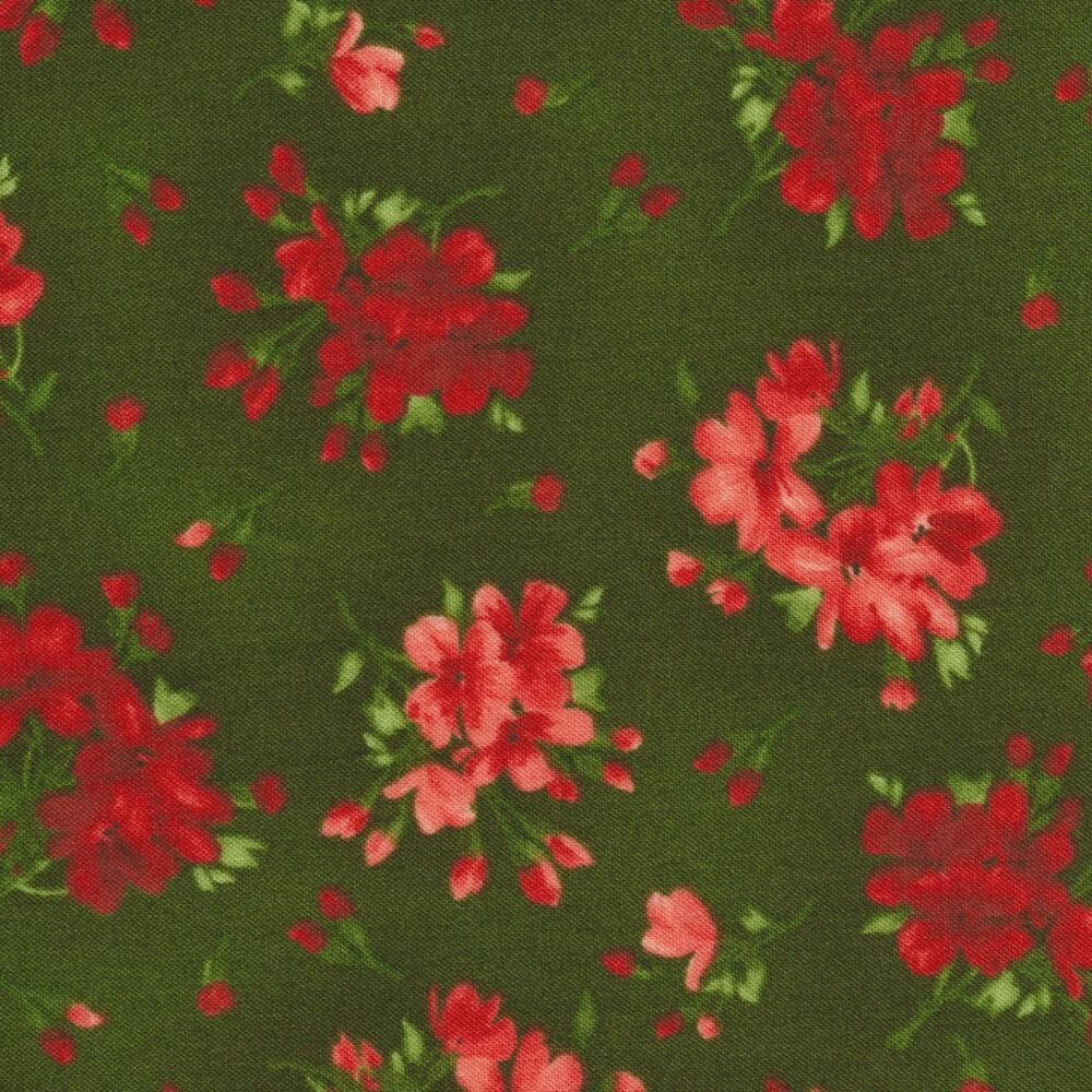 Chloe 9182-G Geranium Sprigs Dark Green by Maywood Studio Fabrics