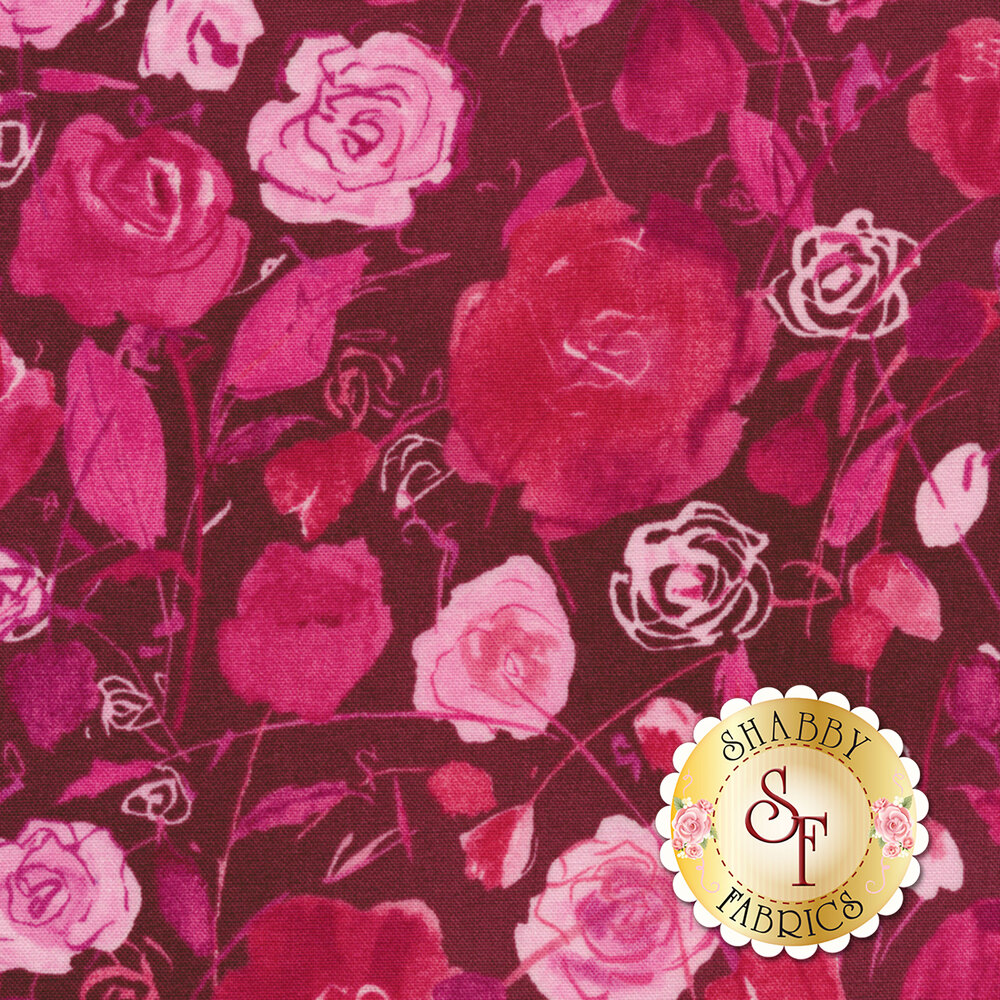 Tonal pink flowers on dark pink | Shabby Fabrics