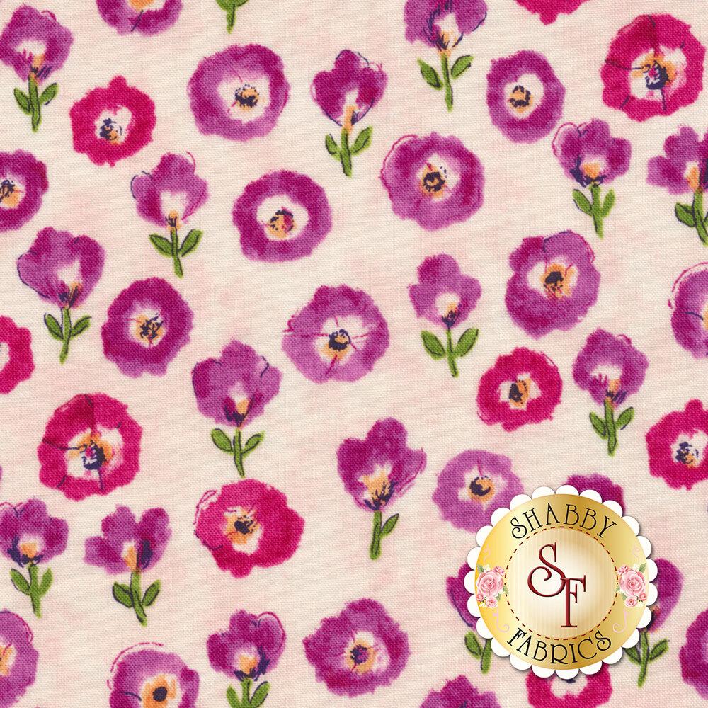 Purple flowers all over pink | Shabby Fabrics