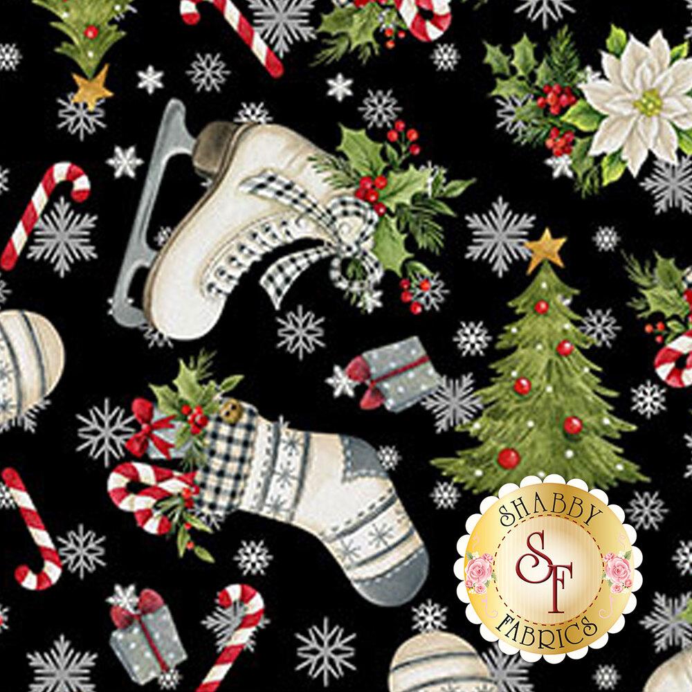 Christmas tree, snowflakes, ice skates, stockings, etc. tossed on black | Shabby Fabrics