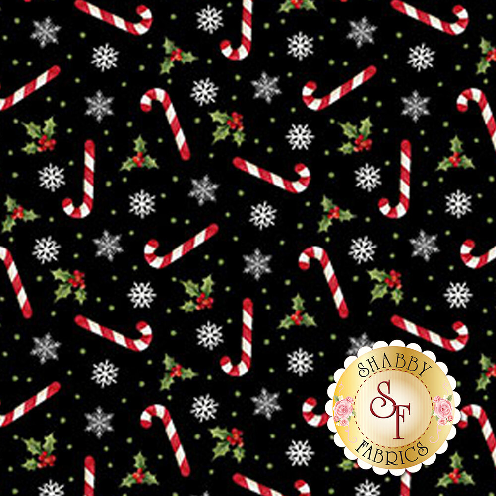 Candy canes, snowflakes, and holly tossed on black | Shabby Fabrics