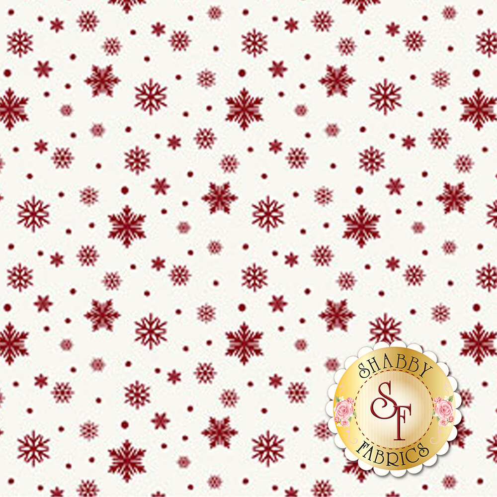 Red snowflakes and dots on white | Shabby Fabrics