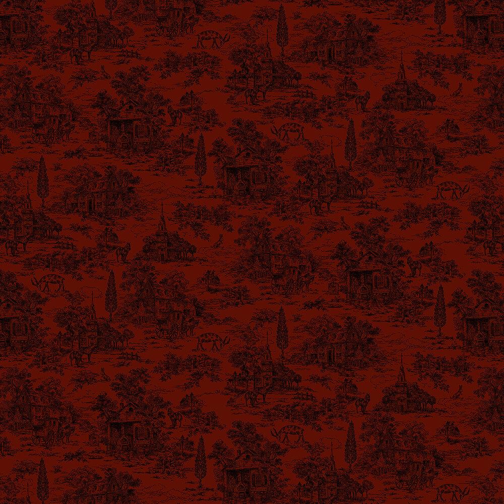 Dark red toile fabric with farmhouse scene