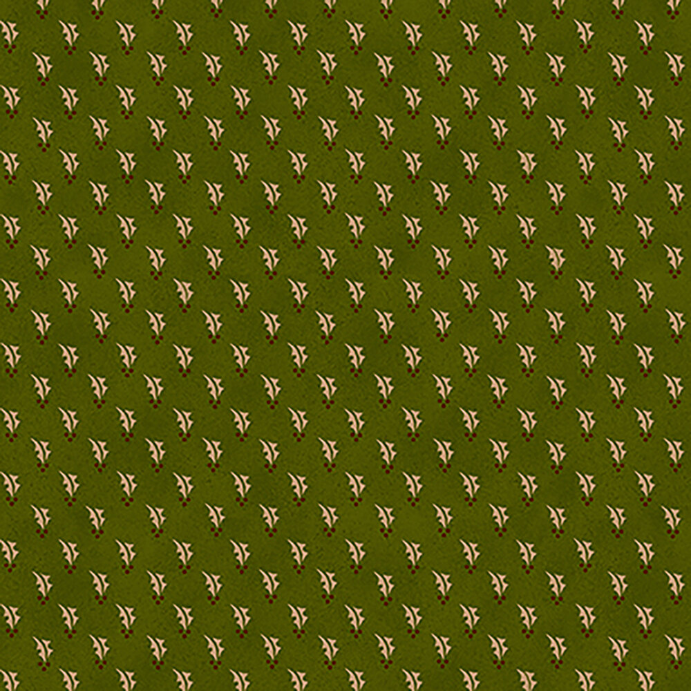 Dark green fabric with small cream colored holly leaves and berries all over