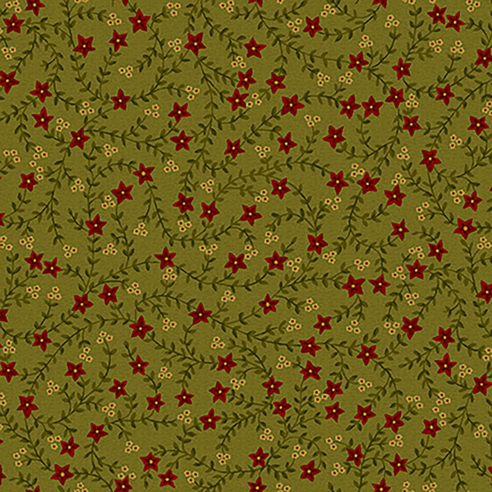 Red flowers and green vines all over a light green background