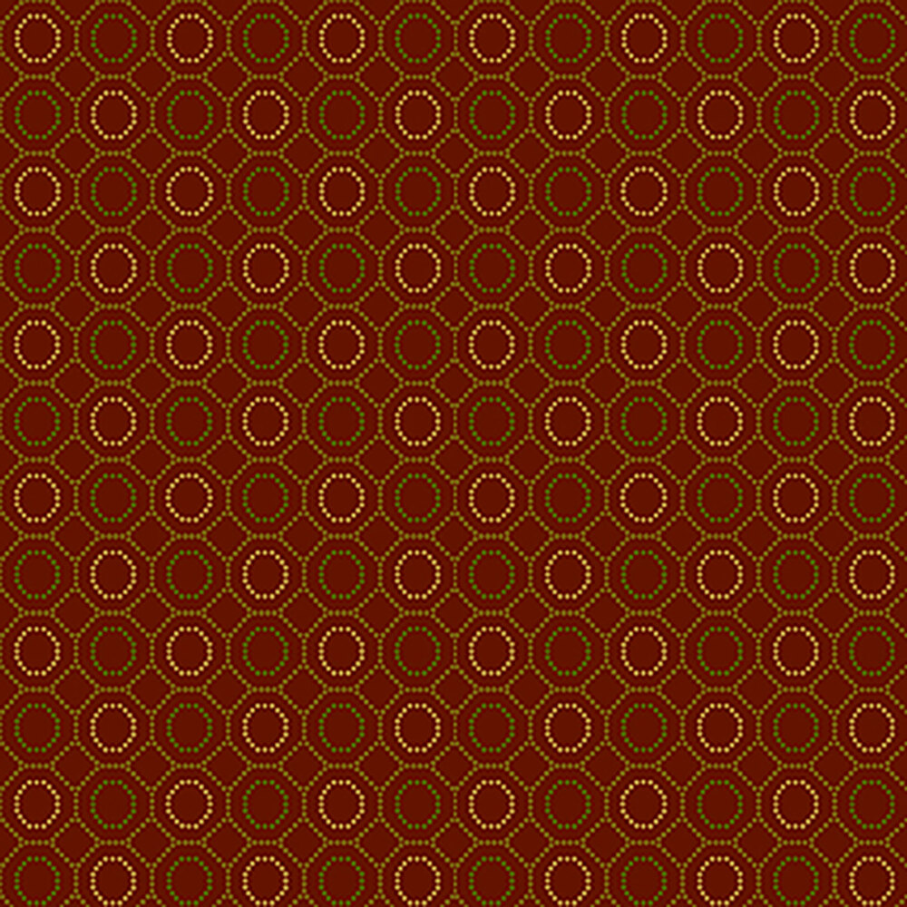 Dotted hexi patterns all over a red background