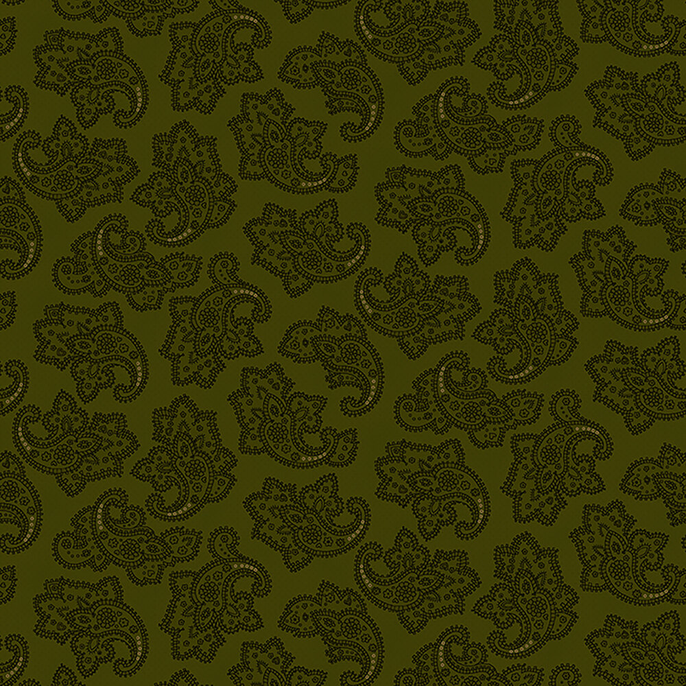 Dotted green paisleys on a green background