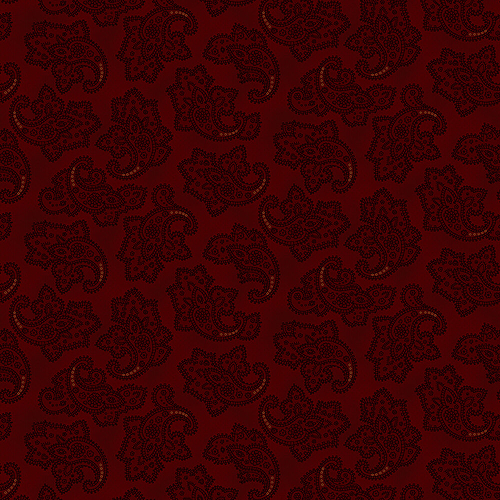 Dotted red paisleys on a dark red background