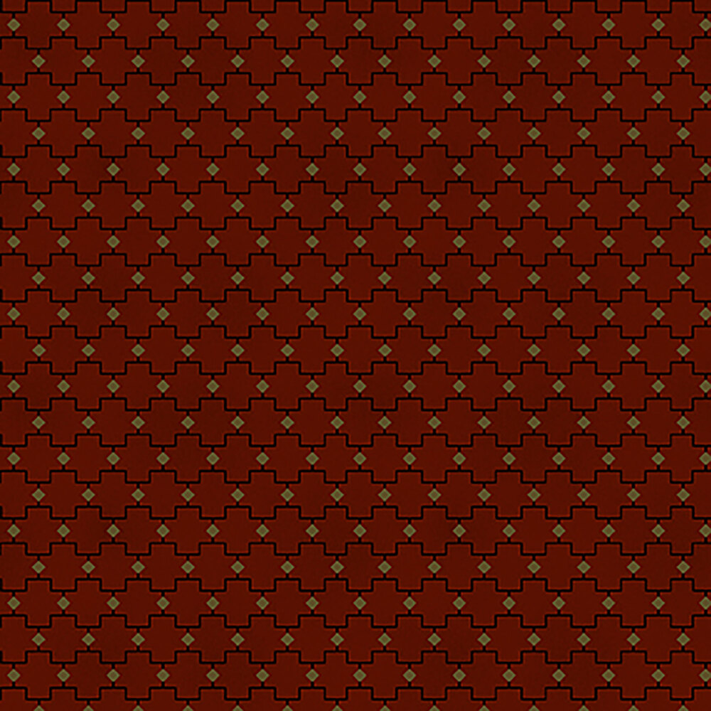 Red fabric with black geometric lines and yellow triangles