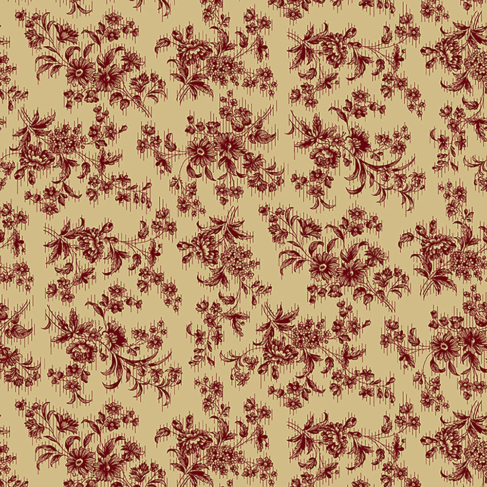 Delicate red floral bunches on a tan background