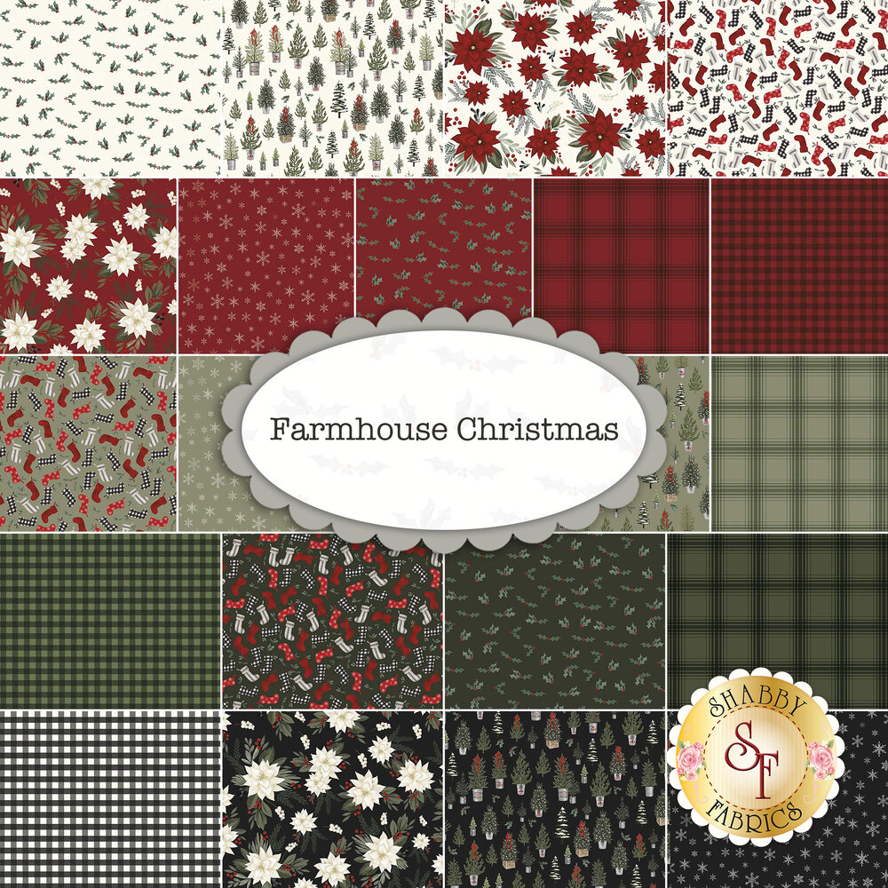 A collage of the fabrics included in the Farmhouse Christmas fabric collection | Shabby Fabrics