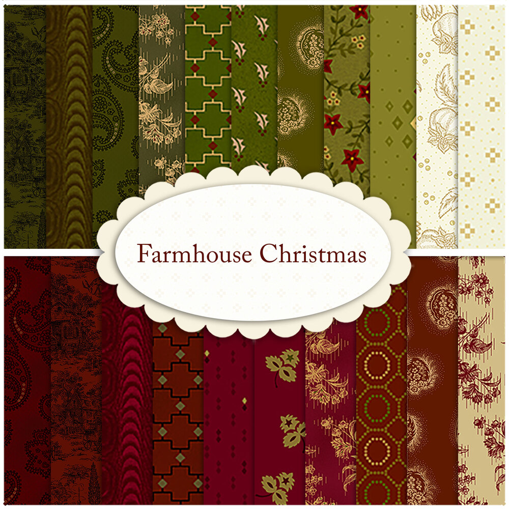 A collage of 21 fabrics in the Farmhouse Christmas collection