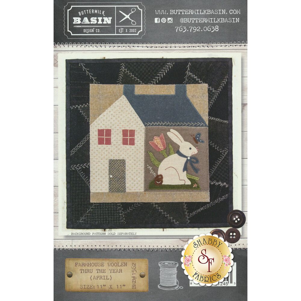 Farmhouse Woolen Thru The Year April Pattern available at Shabby Fabrics