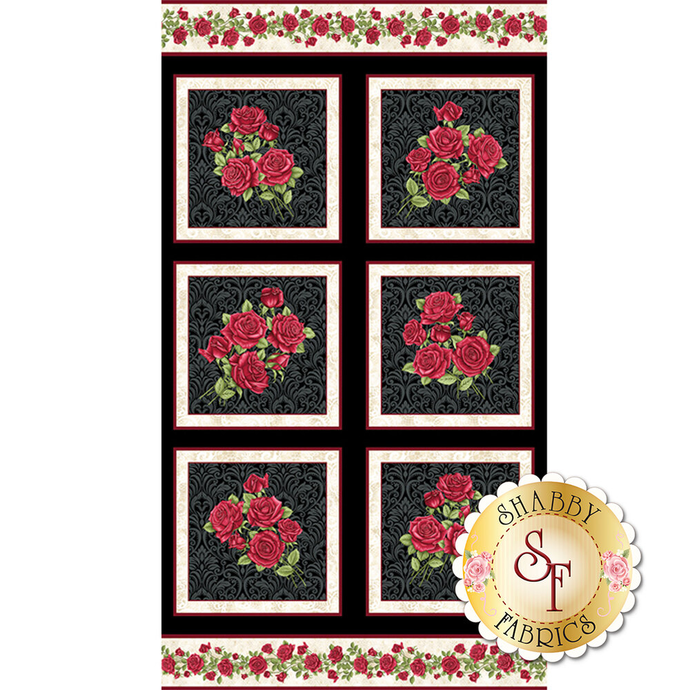 Panel featuring roses in blocks | Shabby Fabrics