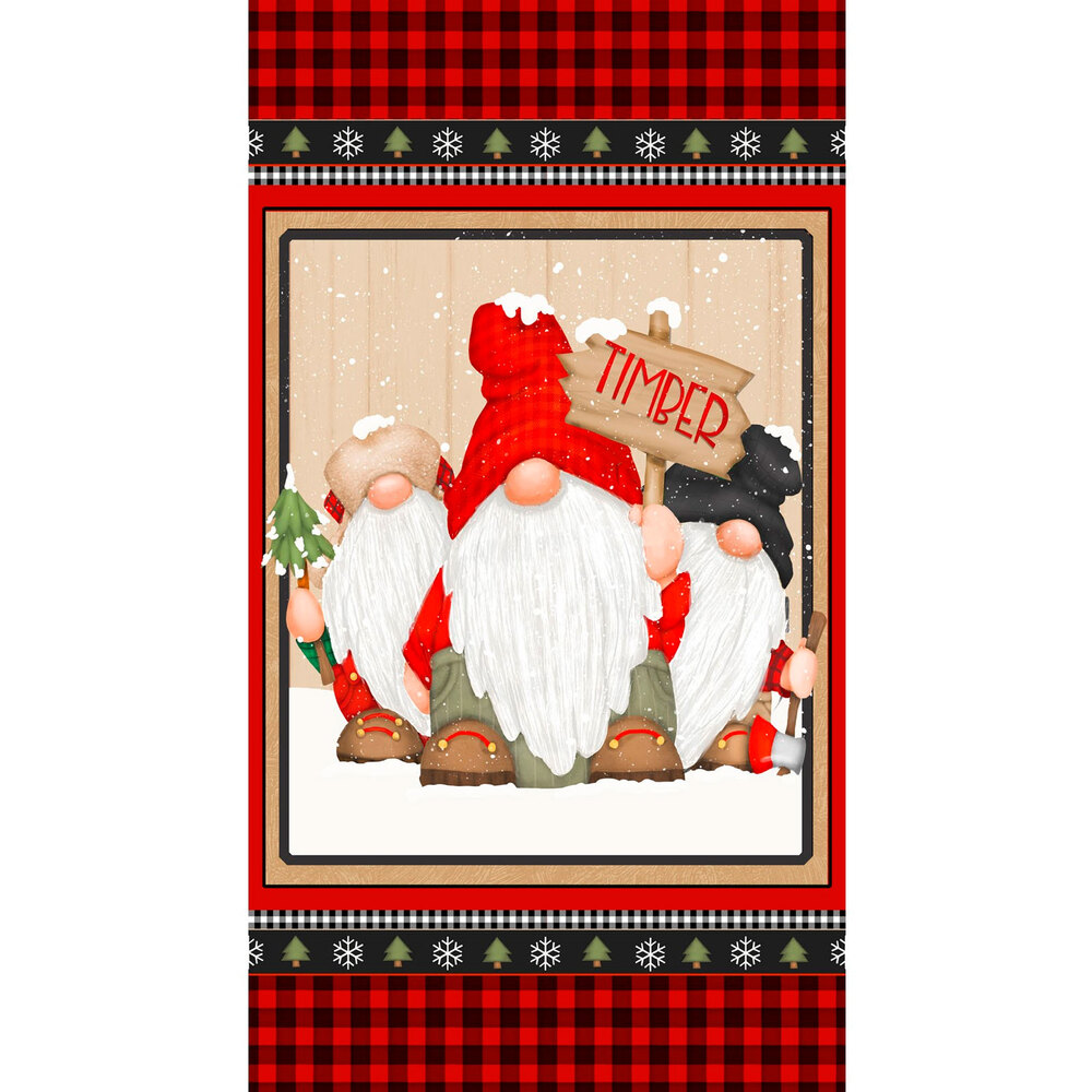 Panel fabric featuring red and black buffalo check and gnomes | Shabby Fabrics