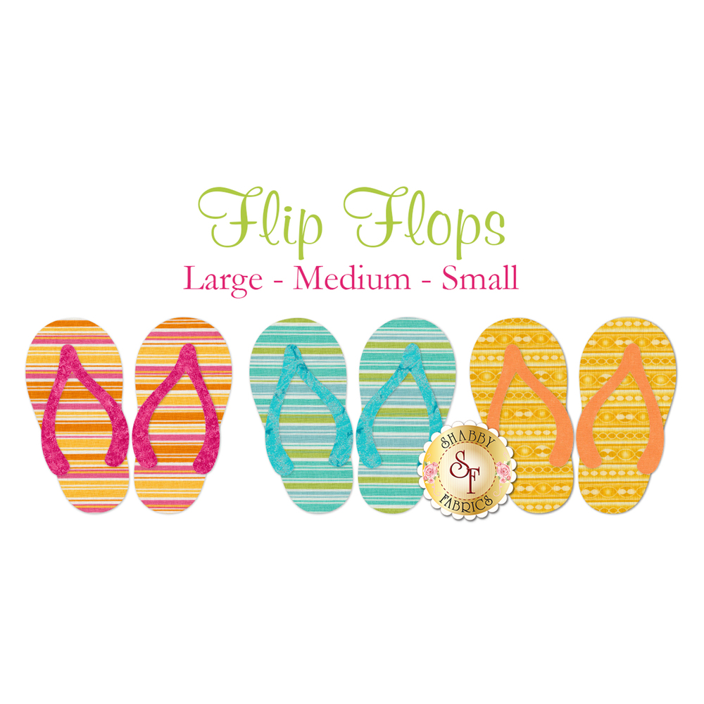 3 flip-flop applique shapes in bright stripe fabrics: pink, blue, and yellow.