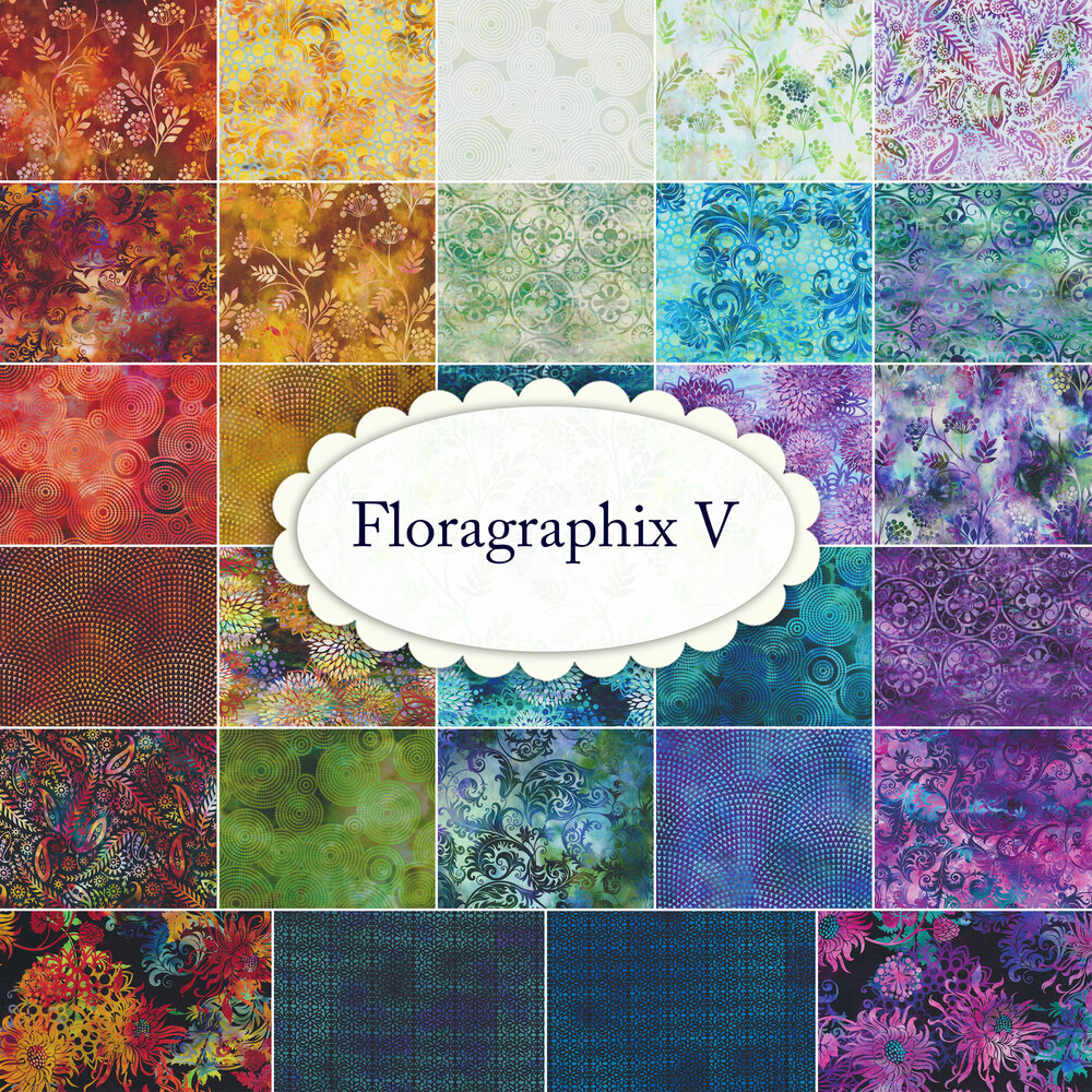 A collage of fabrics included in the Floragraphix V collection by In The Beginning Fabrics