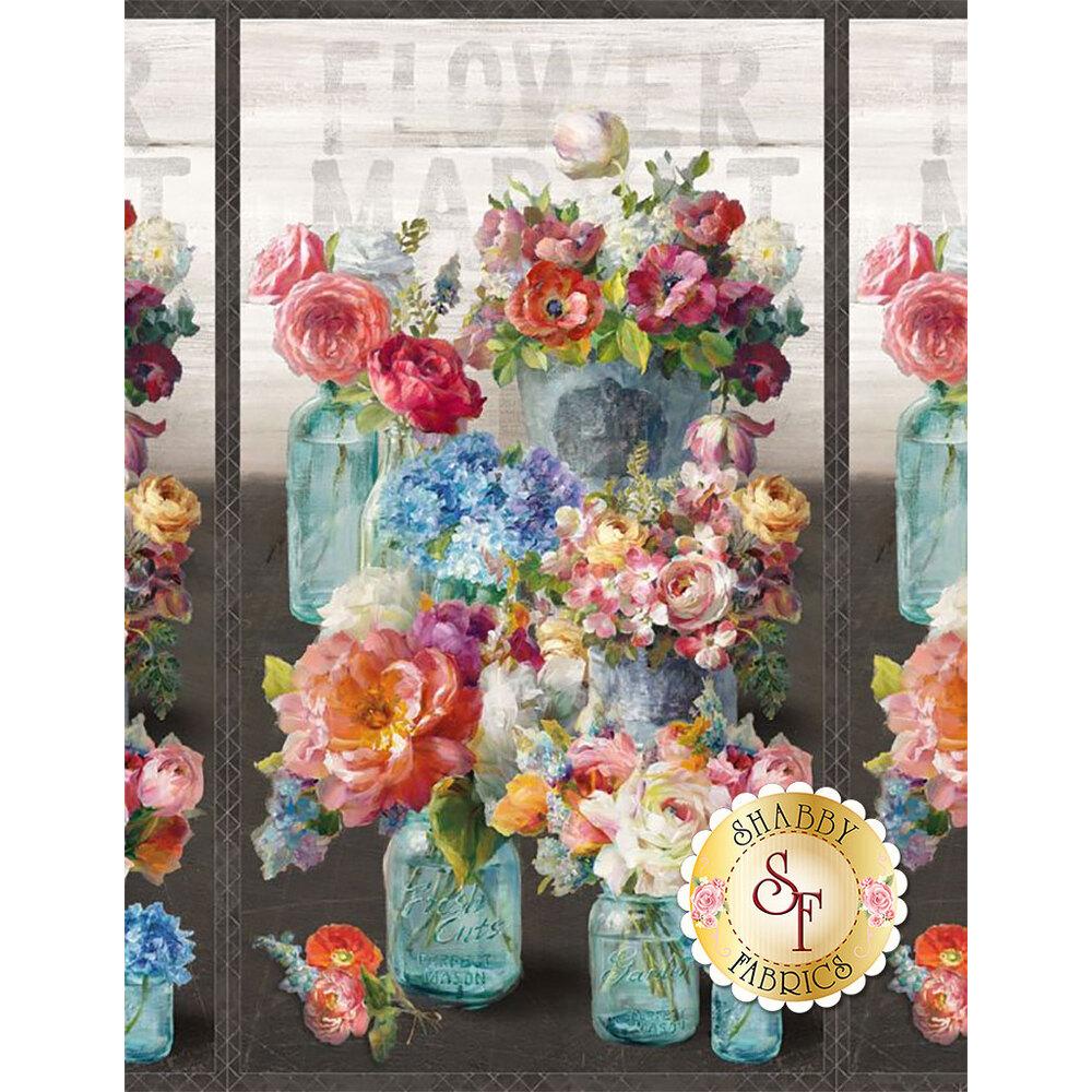 Panel featuring flowers in jars on gray   Shabby Fabrics