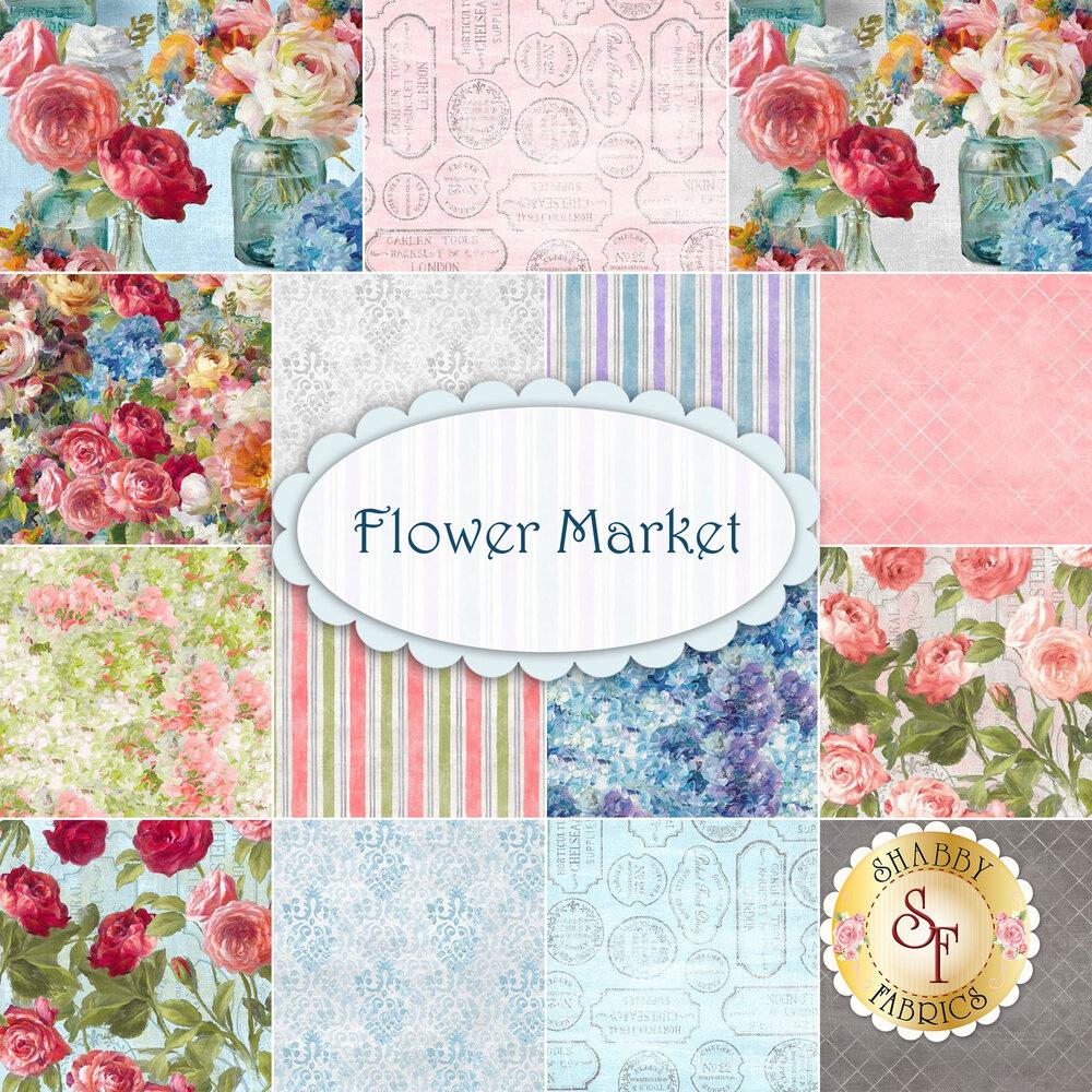 Flower Market  Yardage by Wilmington Prints
