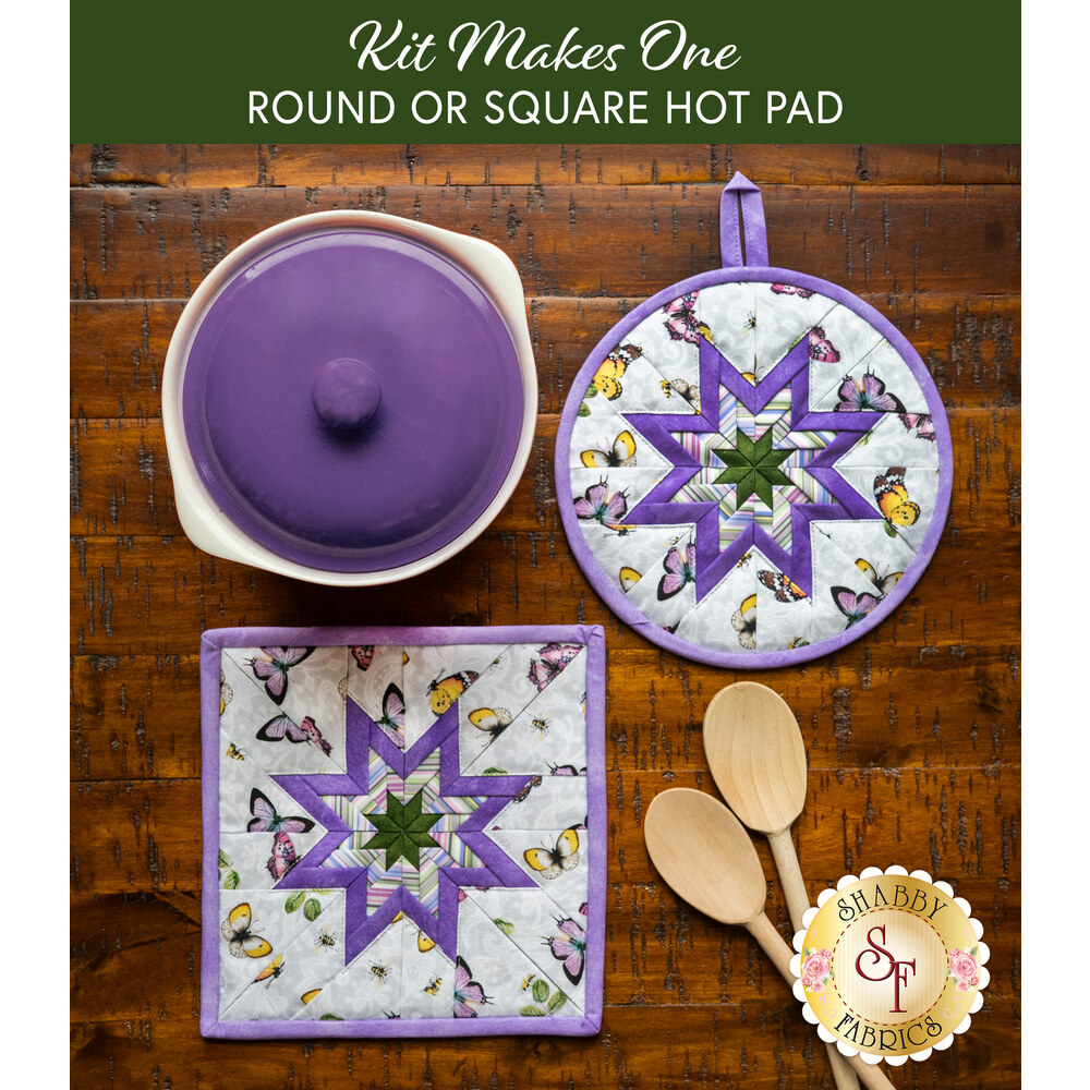 Folded Star Hot Pad Kit - Scented Garden - Round OR Square - Butterflies