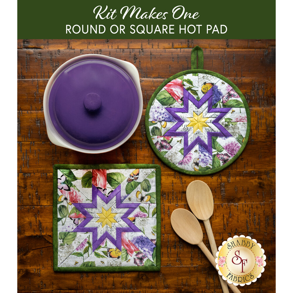 Folded Star Hot Pad Kit - Scented Garden - Round OR Square - Floral