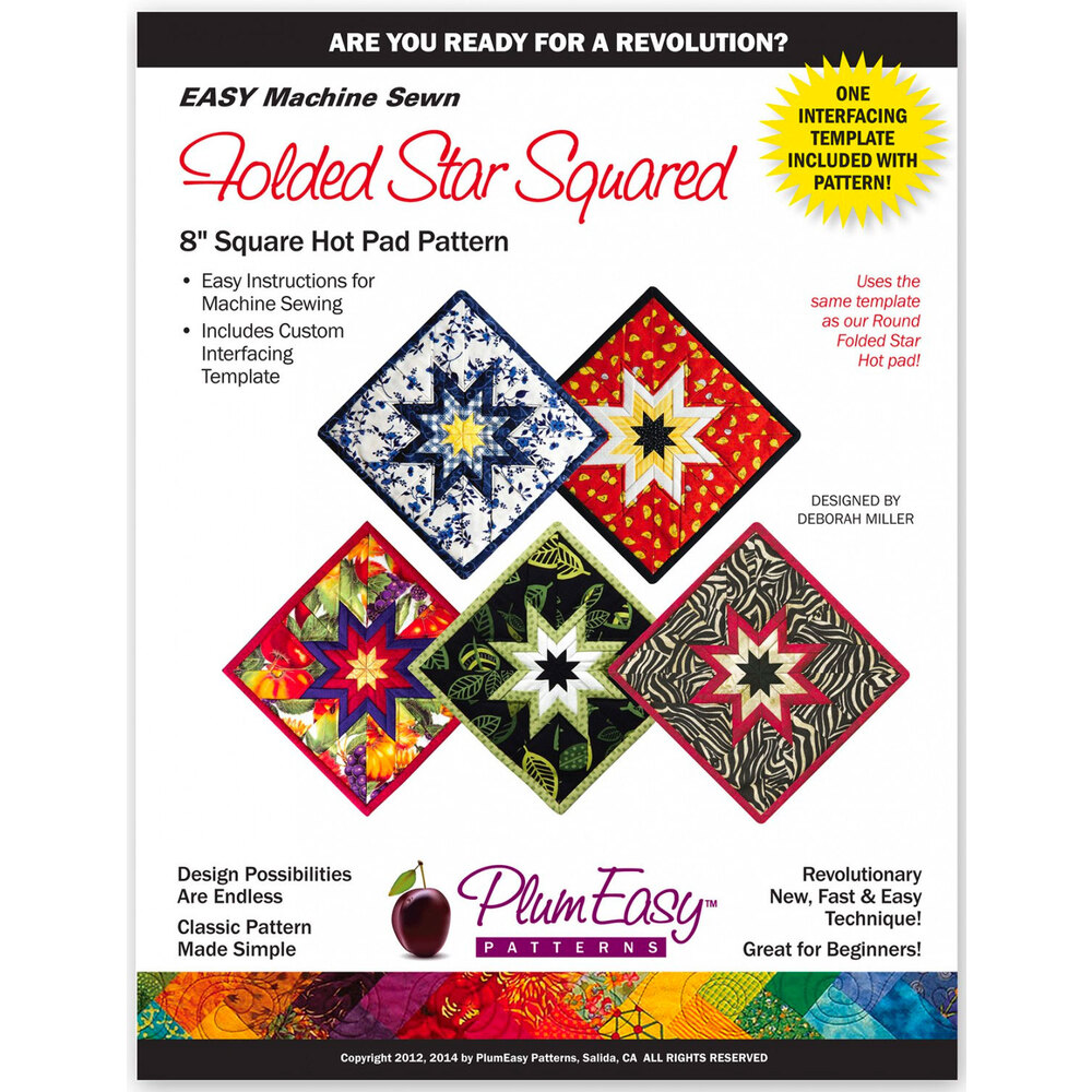 The front of the Folded Star Squared Pattern showing finished square hot pads