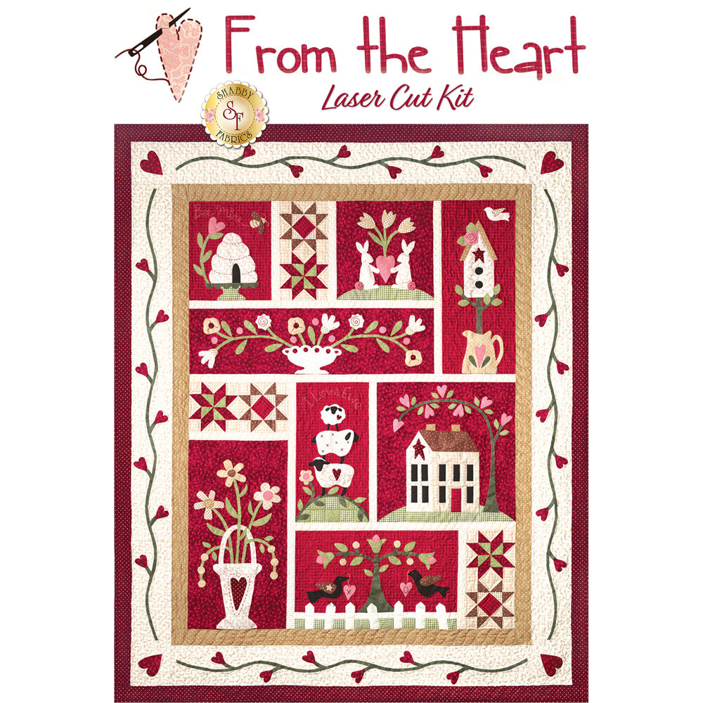 From The Heart quilt featuring beehives, houses, and flowers on red backgrounds | Shabby Fabrics
