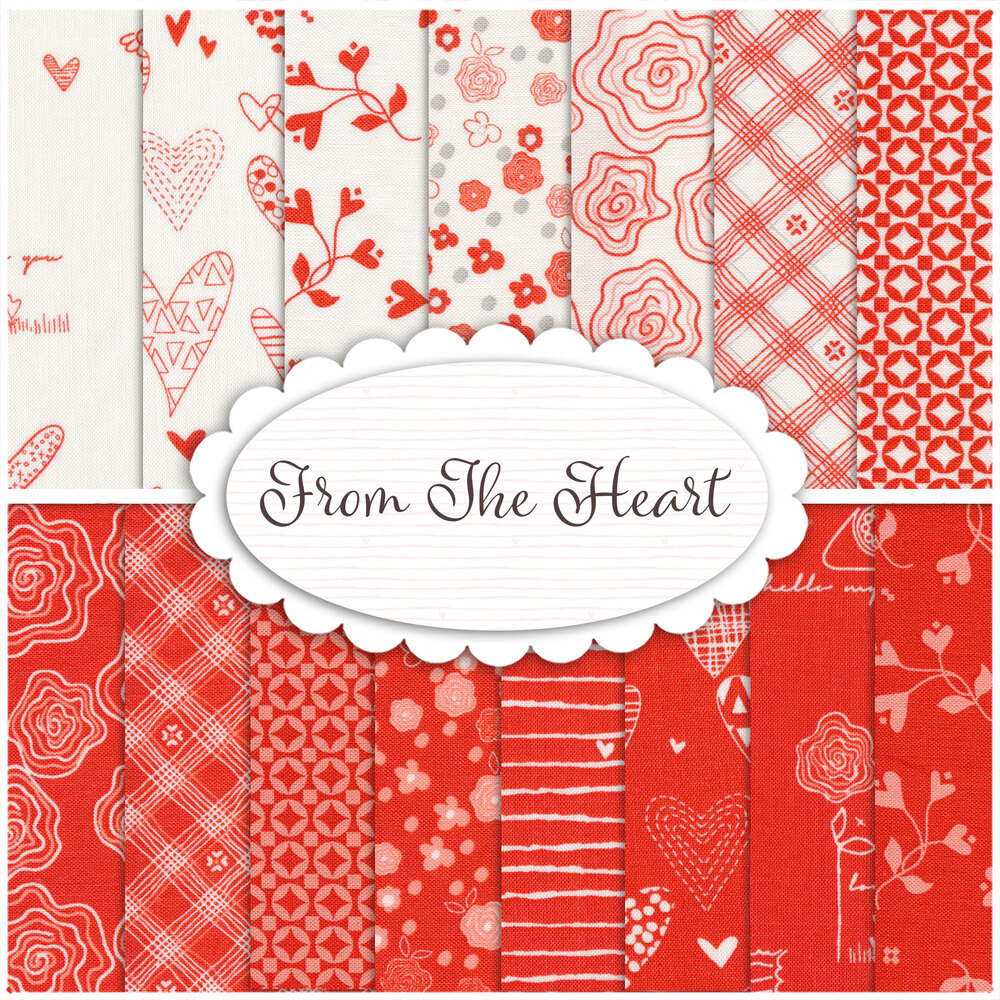 Collage of fabrics in the From the Heart collection   Shabby Fabrics