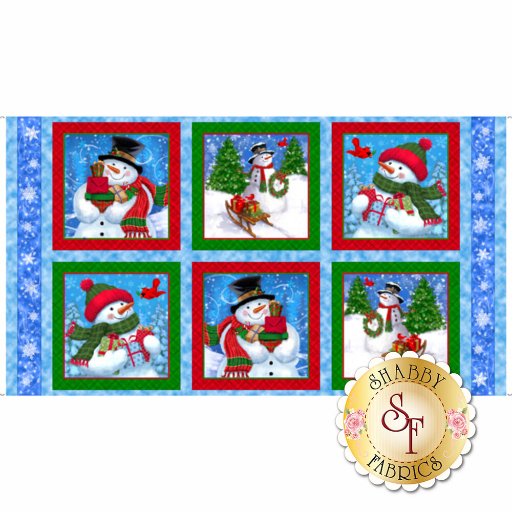 Snowman panel with 6 patches each featuring a snowman scene | Shabby Fabrics