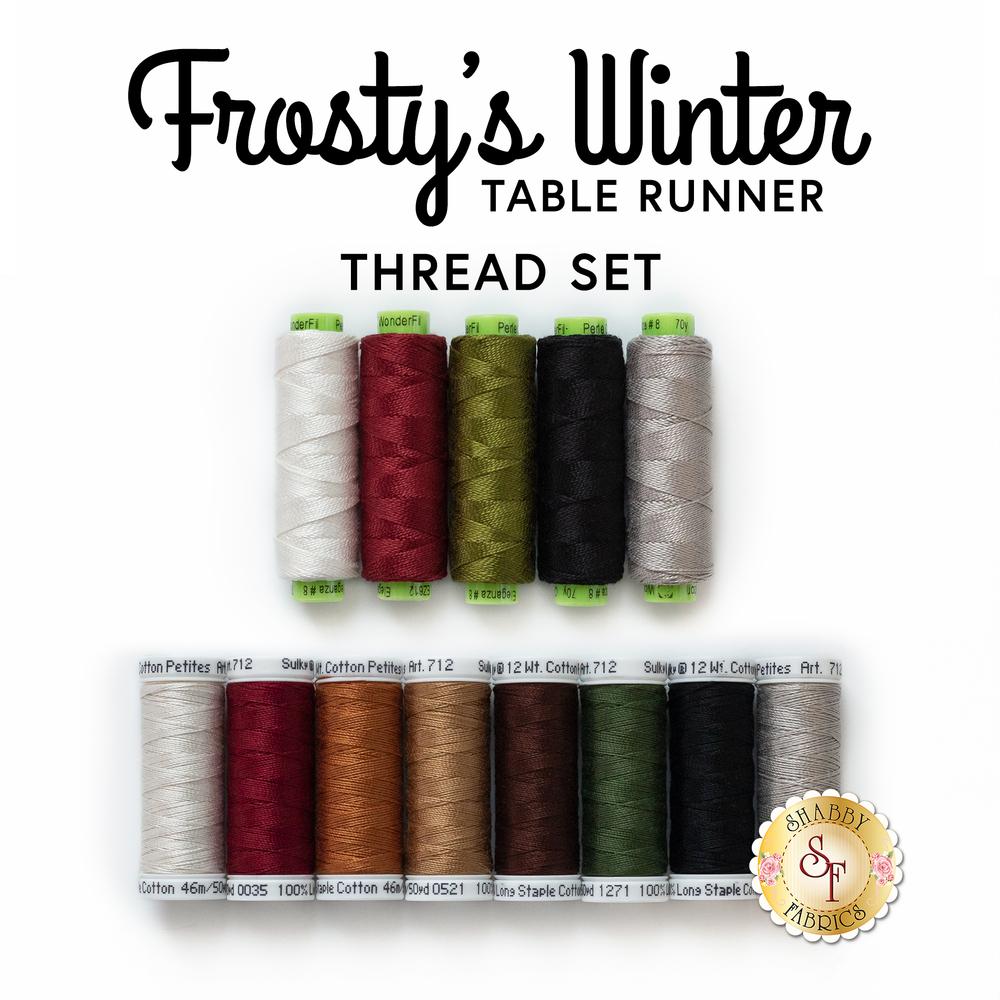 The coordinating Frosty's Winter Table Runner - 13pc Thread Set | Shabby Fabrics