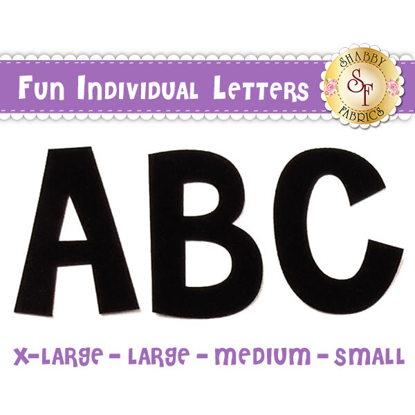 Fun individual letter applique shapes in 4 sizes: extra-large, large, medium, and small.