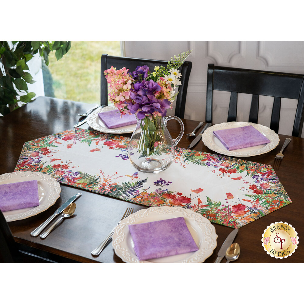 The beautiful Garden of Dreams Easy Striped Table Runner displayed on a set table | Shabby Fabrics