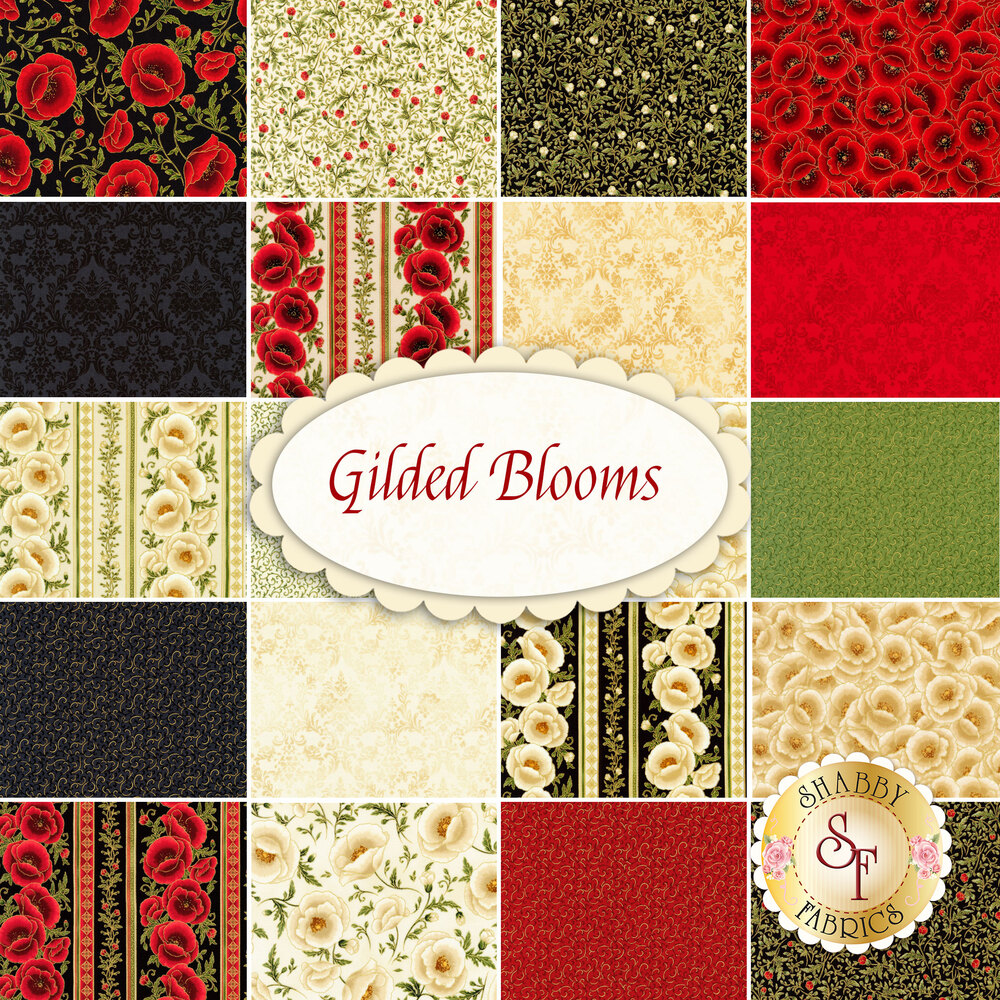 Fabrics in the Gilded Blooms FQ Set | Shabby Fabrics