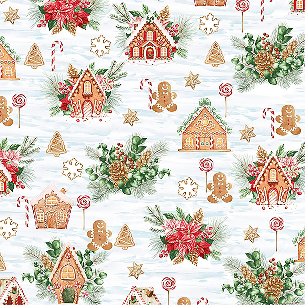 Gingerbread men and house on mottled blue and white background | Shabby Fabrics