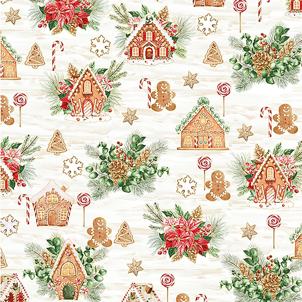 Gingerbread men and house on mottled cream and white background | Shabby Fabrics