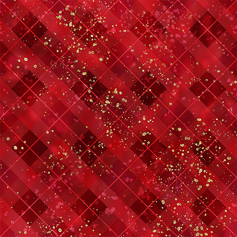 Tonal red plaid with gold accents | Shabby Fabrics