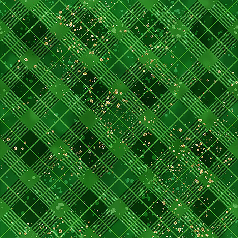 Tonal green plaid with gold accents | Shabby Fabrics