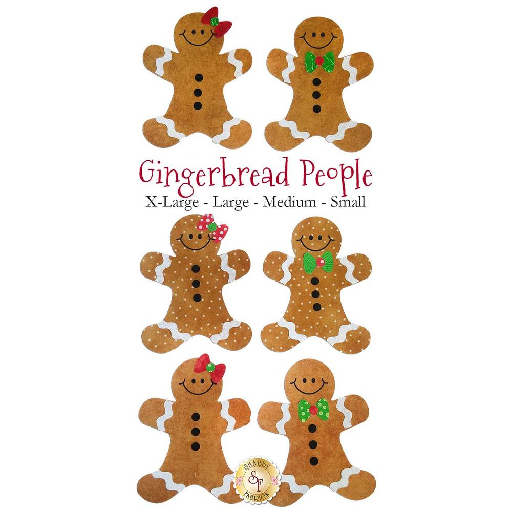 6 gingerbread people applique shapes: 3 with red bows on their heads, 3 wearing green bow ties.