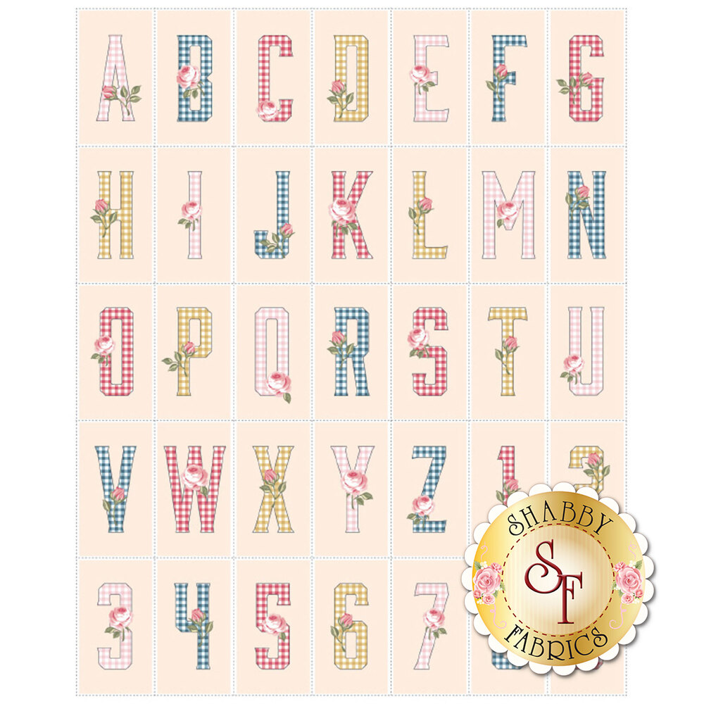 A multi color panel featuring gingham alphabet letters A-Z and numbers 1-9 | Shabby Fabrics